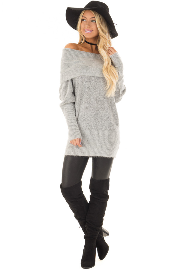 Heather Grey Off the Shoulder Long Sleeve Tunic front full body