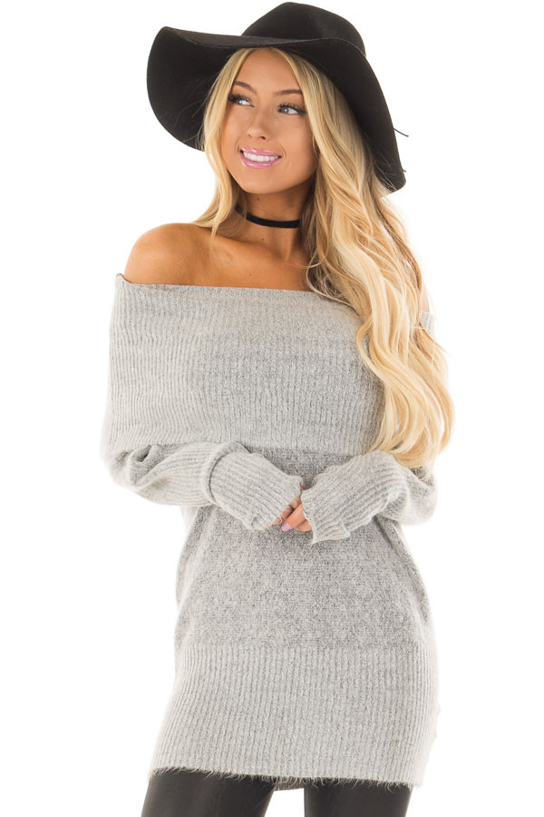 Heather Grey Off the Shoulder Long Sleeve Tunic front closeup