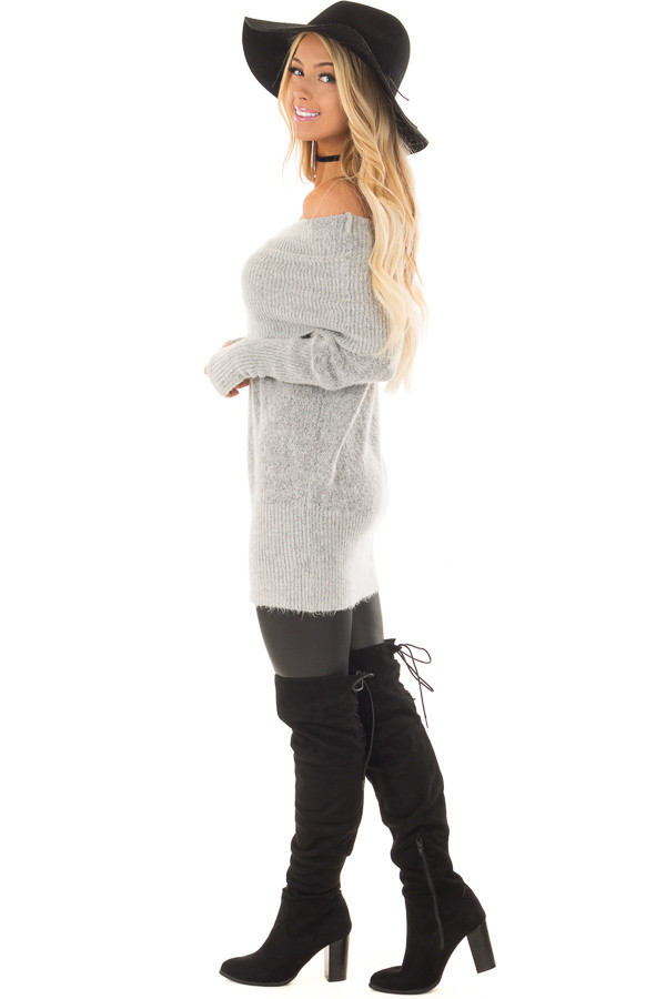 Heather Grey Off the Shoulder Long Sleeve Tunic side full body
