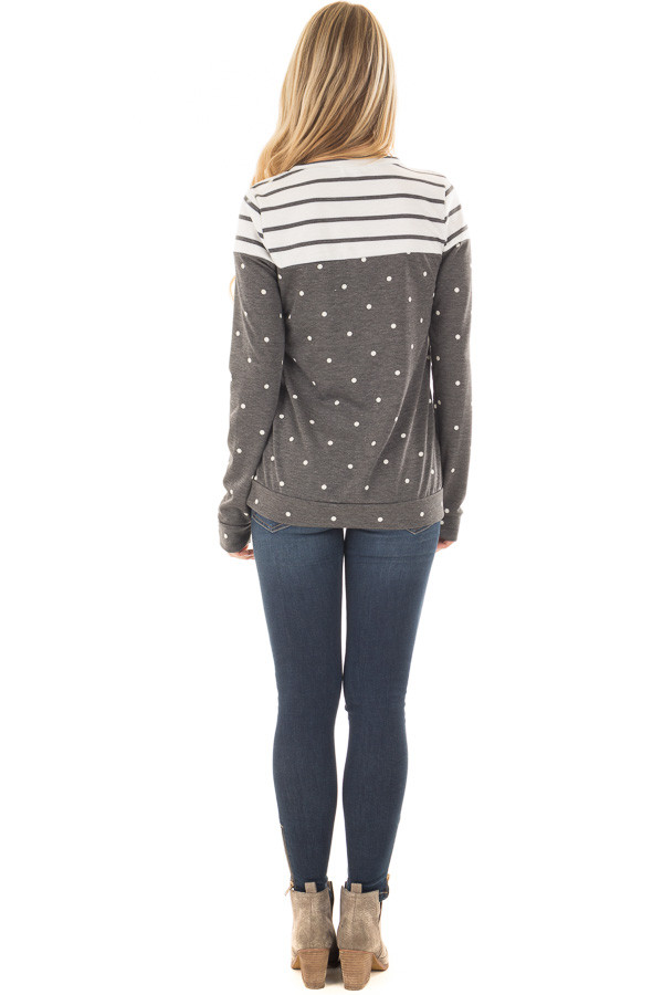 Charcoal Polka Dot Top with Striped Color Block back full body