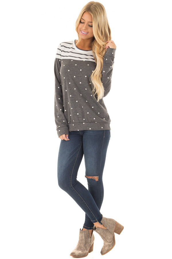 Charcoal Polka Dot Top with Striped Color Block front full body