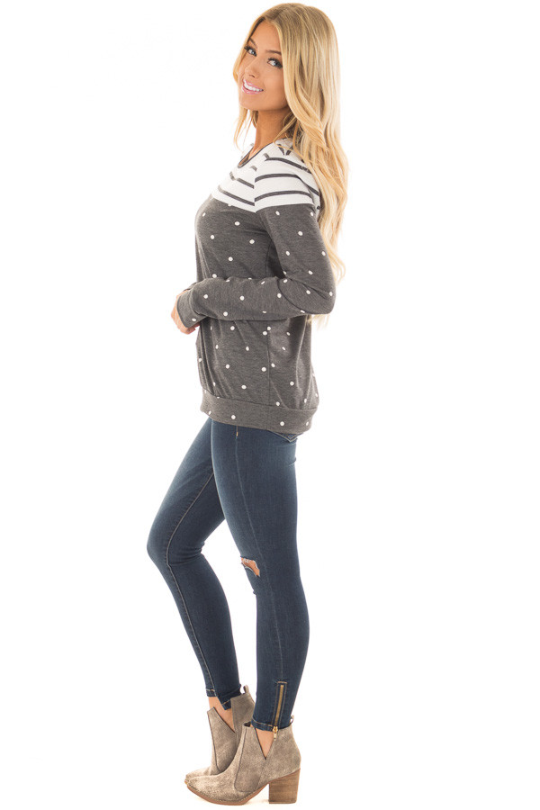 Charcoal Polka Dot Top with Striped Color Block side full body