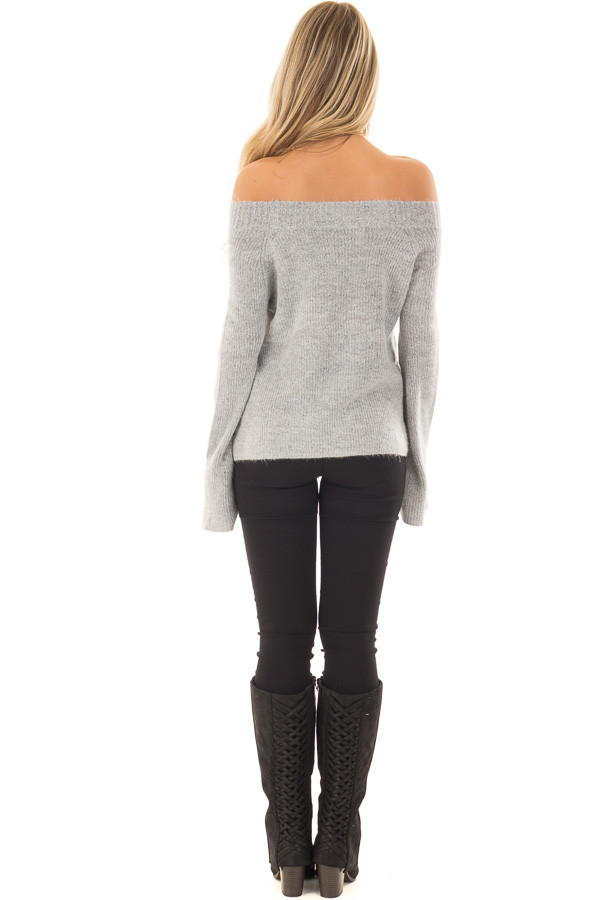 Heather Grey Off the Shoulder Long Sleeve Sweater back full body