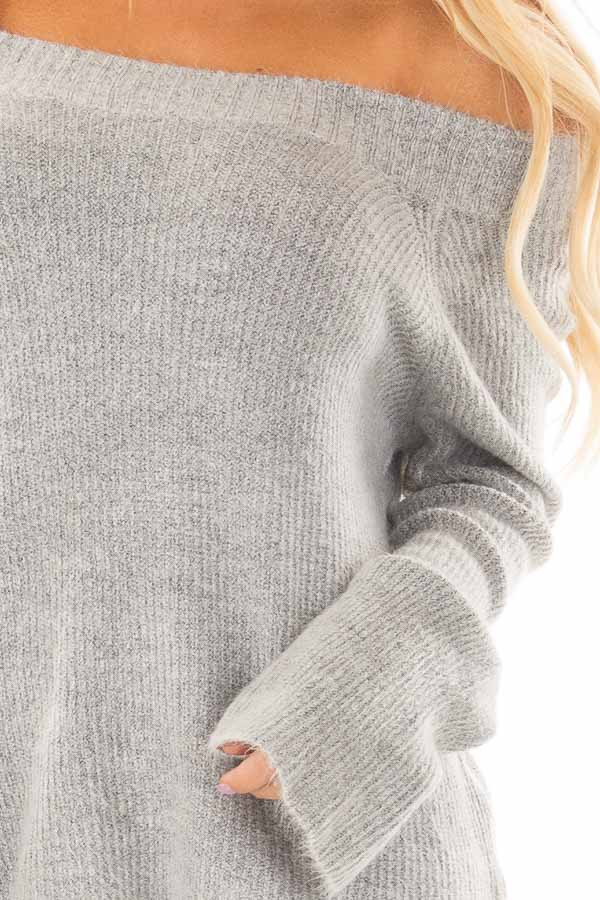 Heather Grey Off the Shoulder Long Sleeve Sweater front detail
