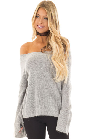 Heather Grey Off the Shoulder Long Sleeve Sweater front closeup