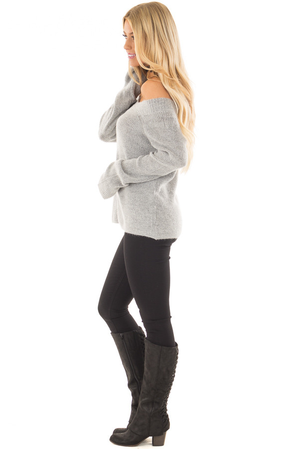 Heather Grey Off the Shoulder Long Sleeve Sweater side full body