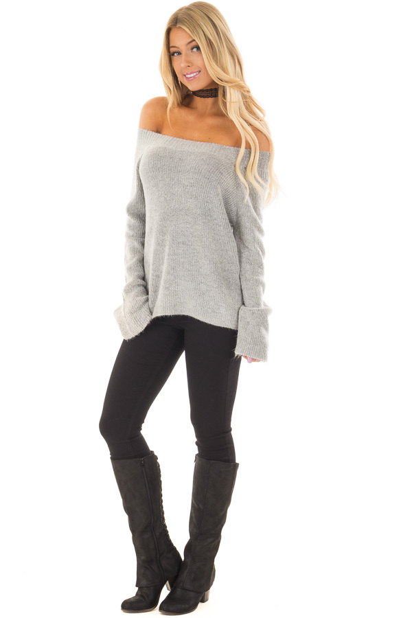 Heather Grey Off the Shoulder Long Sleeve Sweater front full body