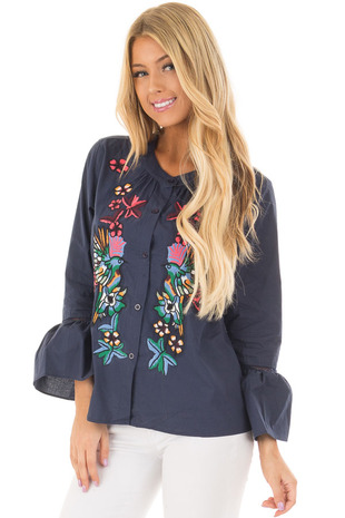 Navy Blouse with Floral Embroidery and Flared Cuffs front closeup