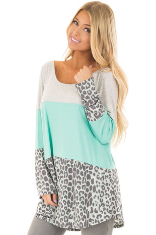 Mint Color Block Long Sleeve Top with Crochet Detail in back front closeup