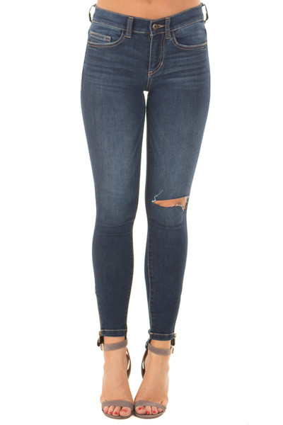 Dark Skinny Mid Rise Jeans with Slashed Knee and Side Zipper front