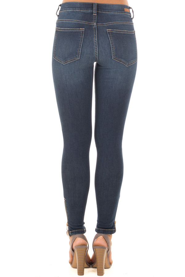 Dark Skinny Mid Rise Jeans with Slashed Knee and Side Zipper back