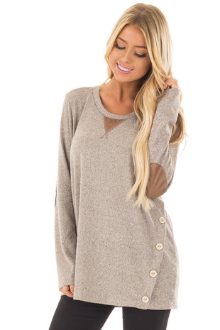 Taupe Two Tone Soft Top with Faux Suede and Button Details front close up