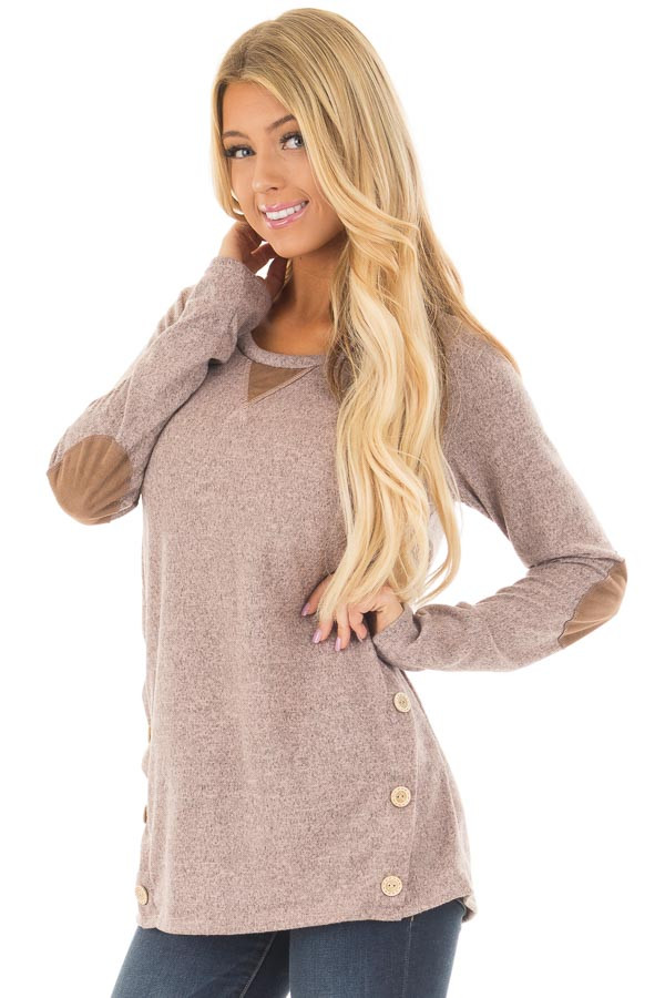 Blush Two Tone Soft Top with Faux Suede and Button Details front closeup