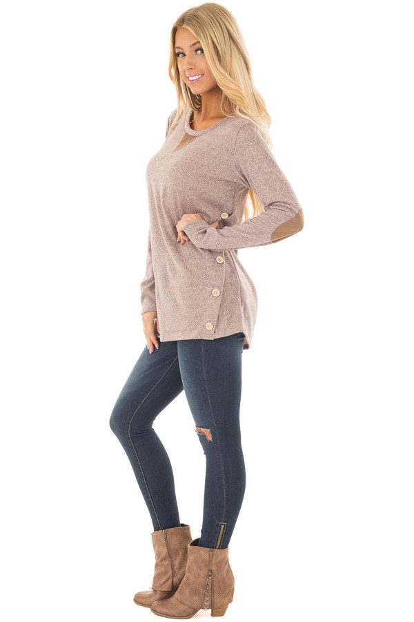 Blush Two Tone Soft Top with Faux Suede and Button Details side full body