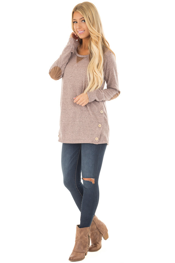 Blush Two Tone Soft Top with Faux Suede and Button Details front full body