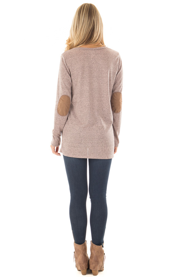 Blush Two Tone Soft Top with Faux Suede and Button Details back full body
