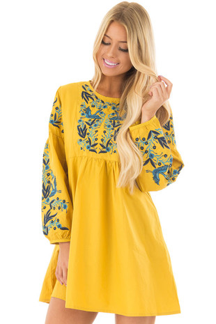 Mustard Dress with Detailed Blue Embroidery front closeup