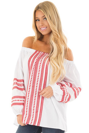 White Off the Shoulder Top with Cherry Red Embroidery front closeup