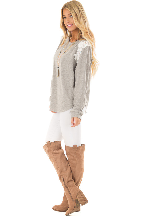 Heather Grey Sweater with Detailed White Lace side full body