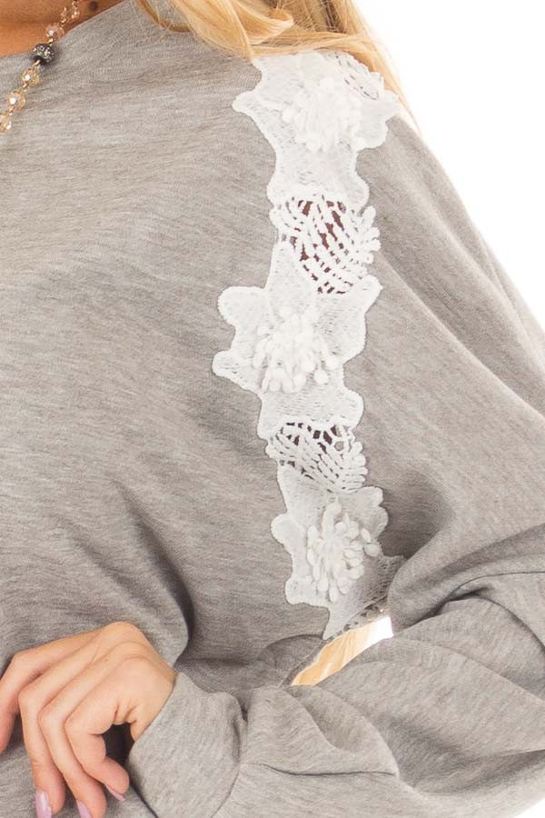 Heather Grey Sweater with Detailed White Lace front detail