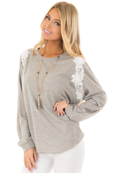 Heather Grey Sweater with Detailed White Lace front closeup