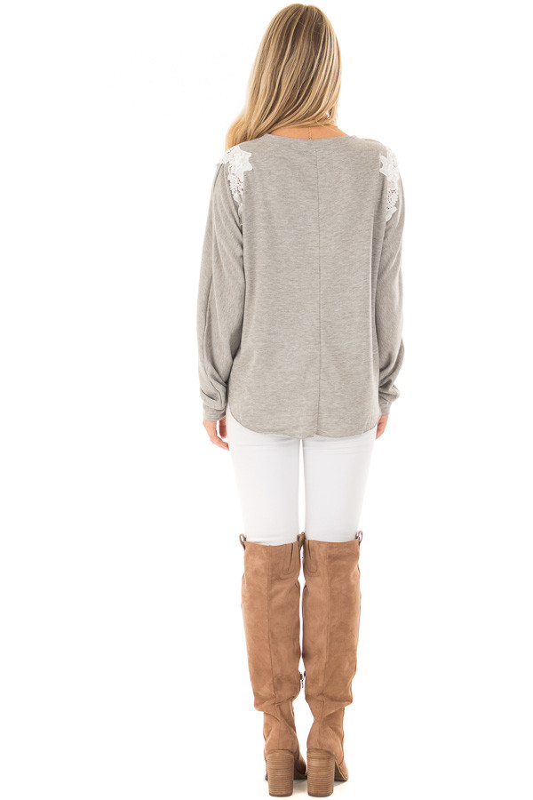 Heather Grey Sweater with Detailed White Lace - Lime Lush Boutique