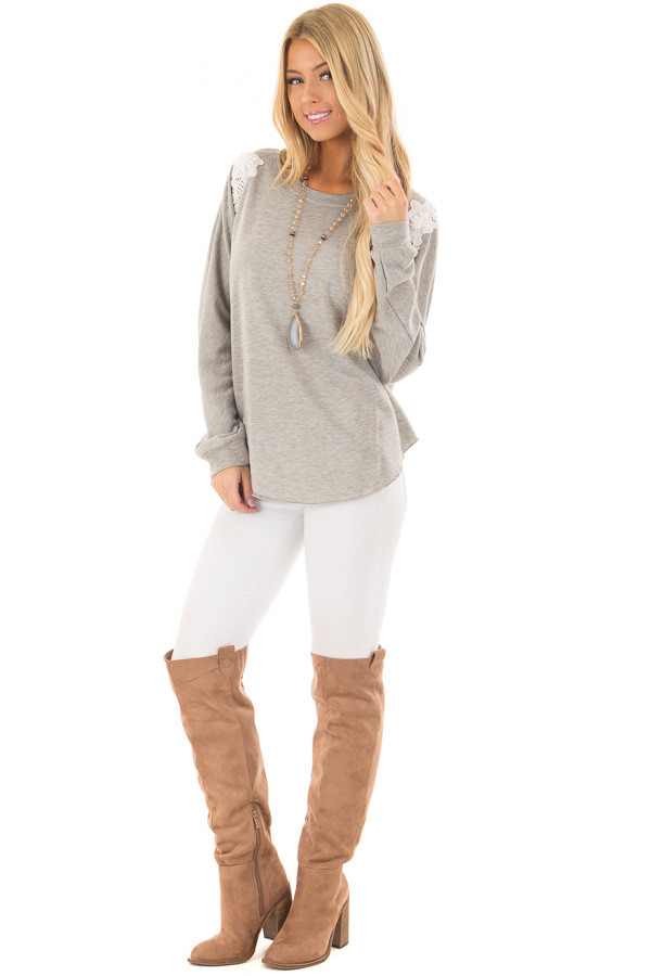 Heather Grey Sweater with Detailed White Lace front full body