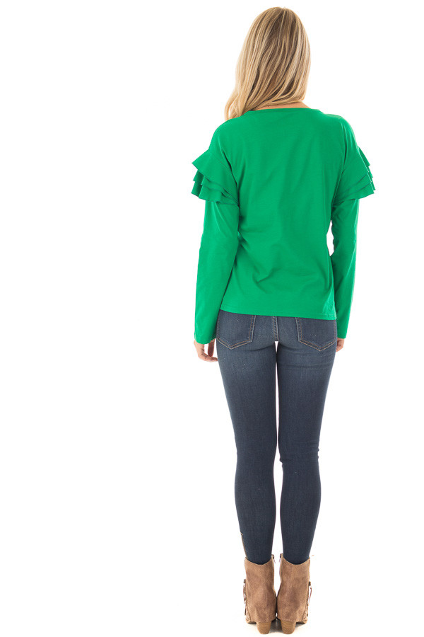 Kelly Green Top with Tiered Ruffle Shoulders back full body