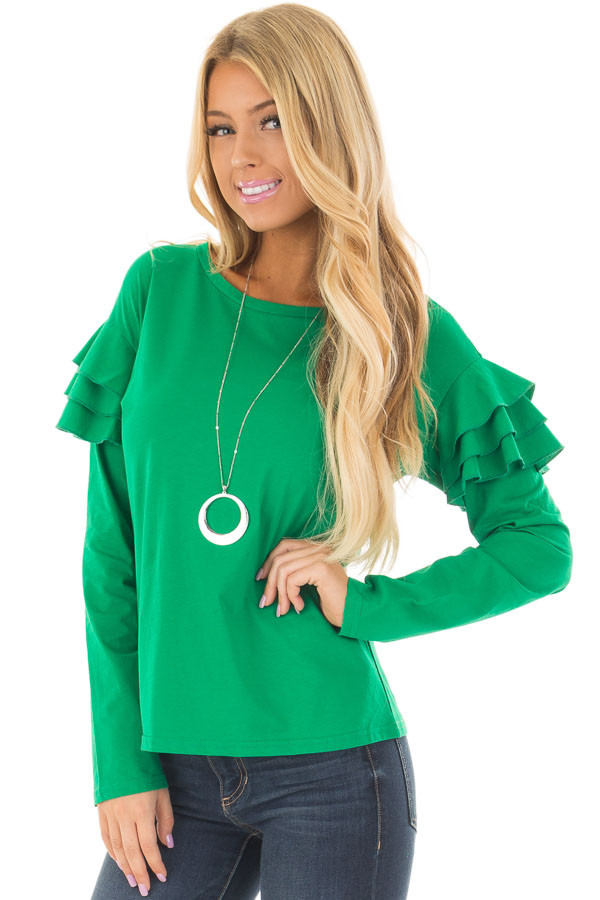 Kelly Green Top with Tiered Ruffle Shoulders front closeup