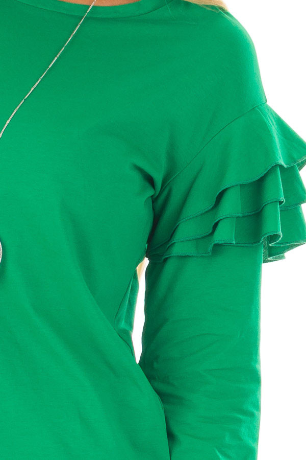 Kelly Green Top with Tiered Ruffle Shoulders front detail