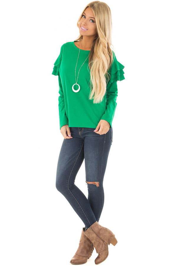 Kelly Green Top with Tiered Ruffle Shoulders front full body