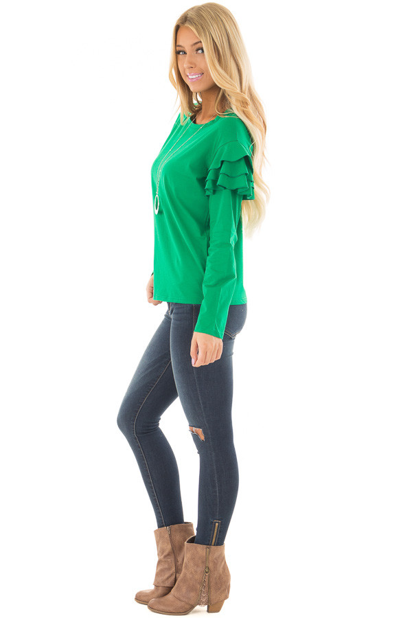 Kelly Green Top with Tiered Ruffle Shoulders side full body