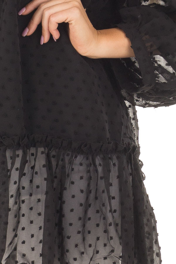 Black Ruffle Hem Dress with Textured Polka Dots front detail