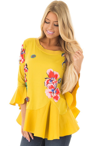 Mustard Top with Embellished 3D Floral and Jewel Details front closeup