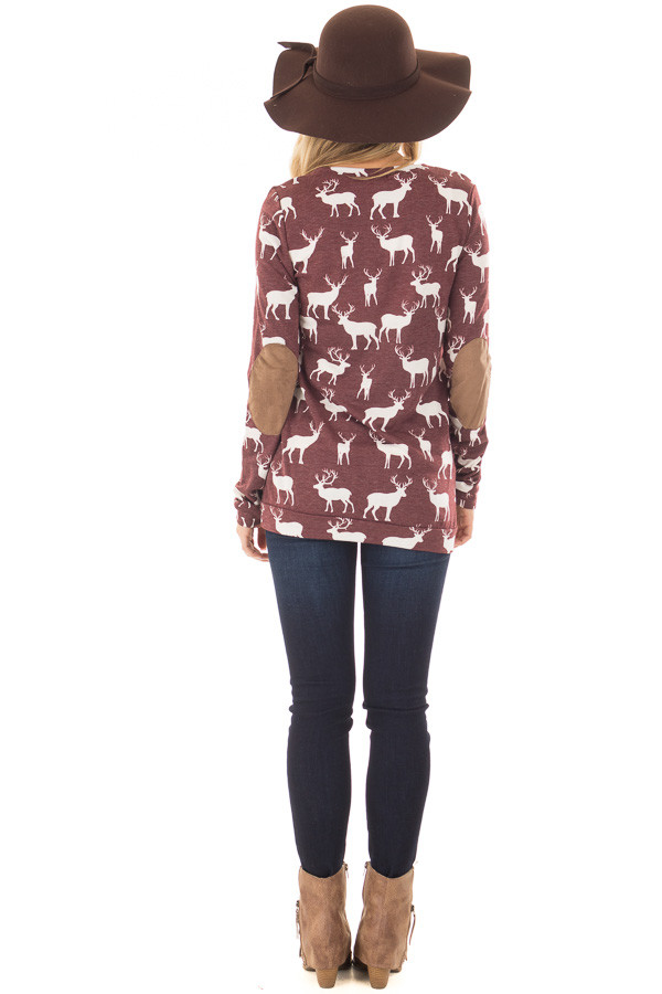 Burgundy and White Reindeer Top with Elbow Patches back full body