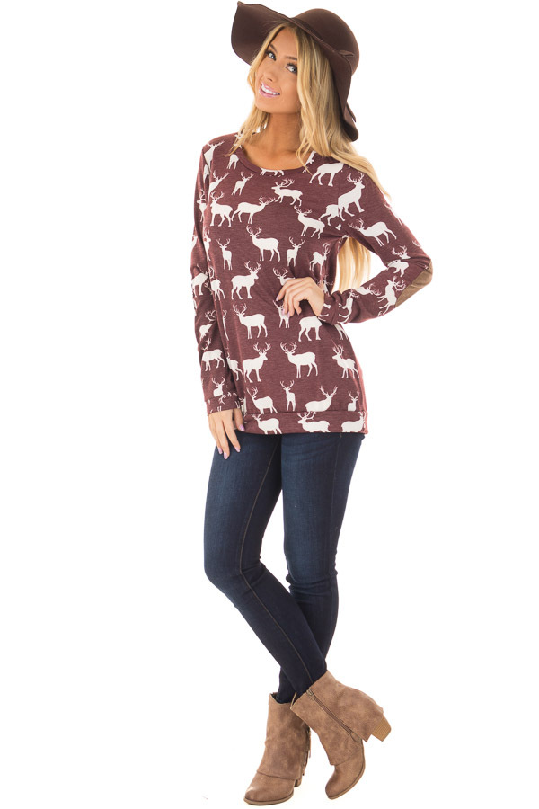 Burgundy and White Reindeer Top with Elbow Patches front full body