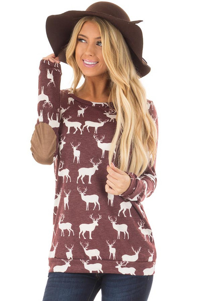 Burgundy and White Reindeer Top with Elbow Patches front closeup