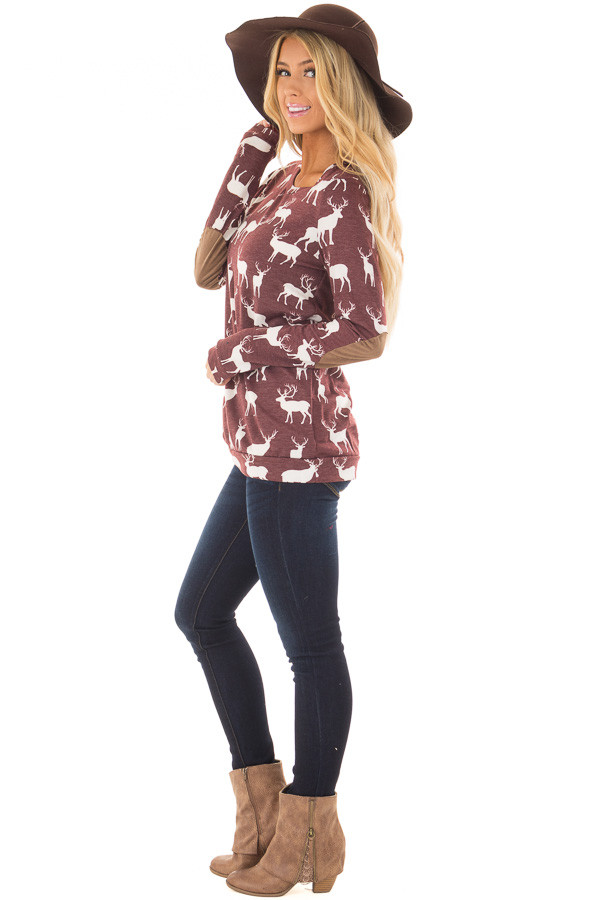Burgundy and White Reindeer Top with Elbow Patches side full body