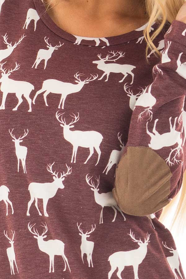 Burgundy and White Reindeer Top with Elbow Patches front detail