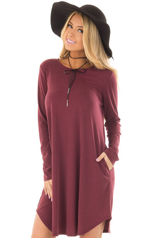 Burgundy Long Sleeve Dress with Hidden Pockets front closeup