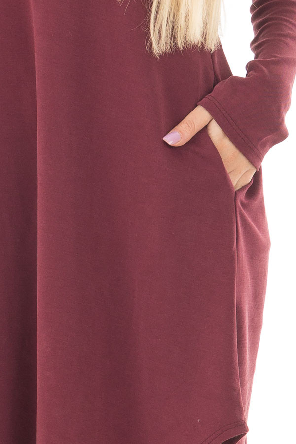 Burgundy Long Sleeve Dress with Hidden Pockets front detail