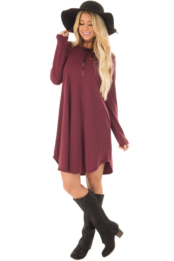 Burgundy Long Sleeve Dress with Hidden Pockets front full body
