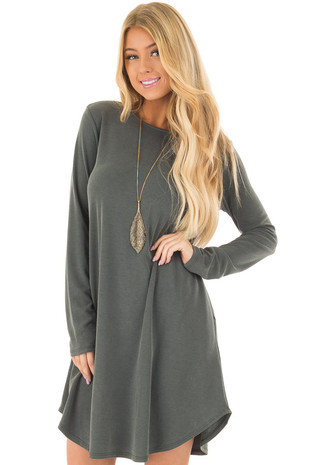 Hunter Green Long Sleeve Dress with Hidden Pockets front closeup