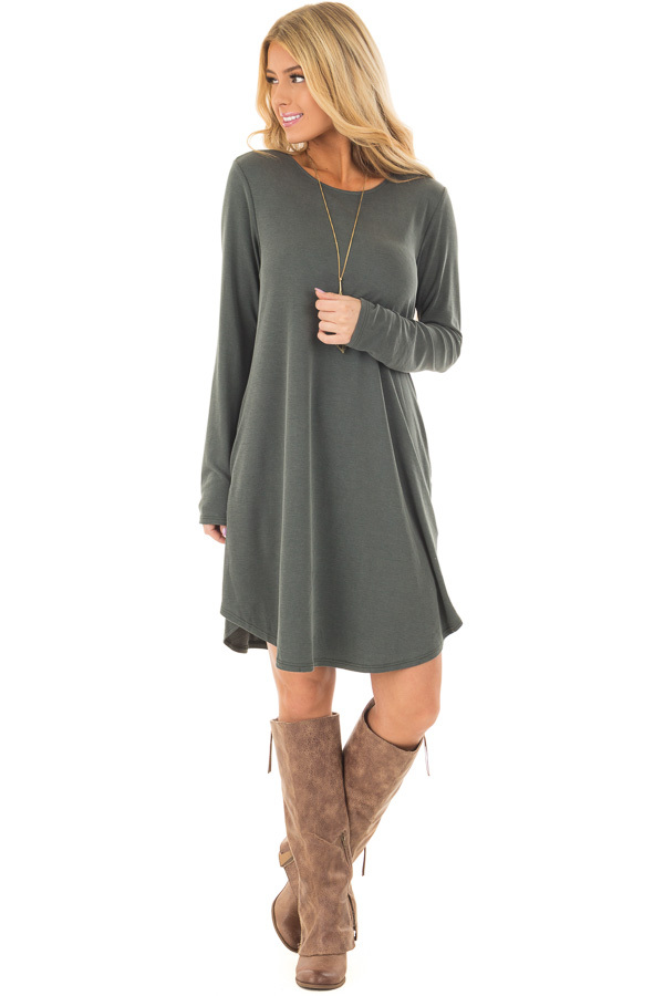 Hunter Green Long Sleeve Dress with Hidden Pockets front full body