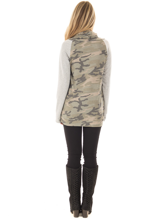 Heather Grey and Olive Camo Cowl Neck Sweater back full body