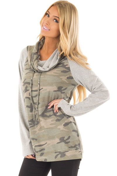 Heather Grey and Olive Camo Cowl Neck Sweater front closeup