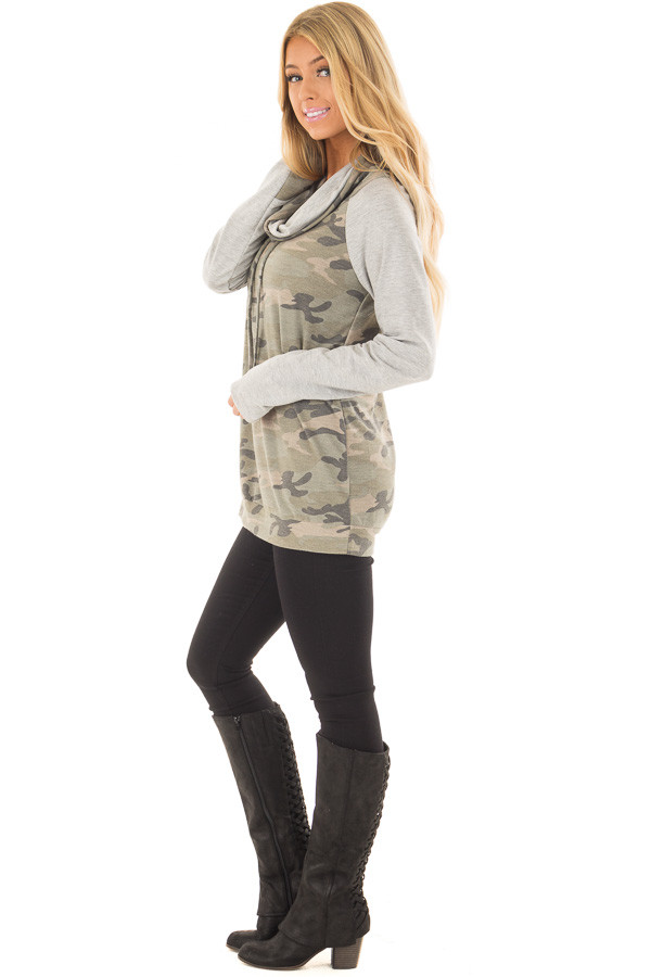 Heather Grey and Olive Camo Cowl Neck Sweater side full body