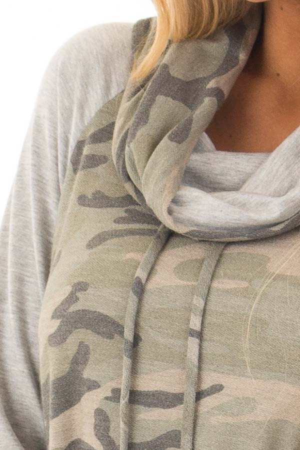 Heather Grey and Olive Camo Cowl Neck Sweater front detail