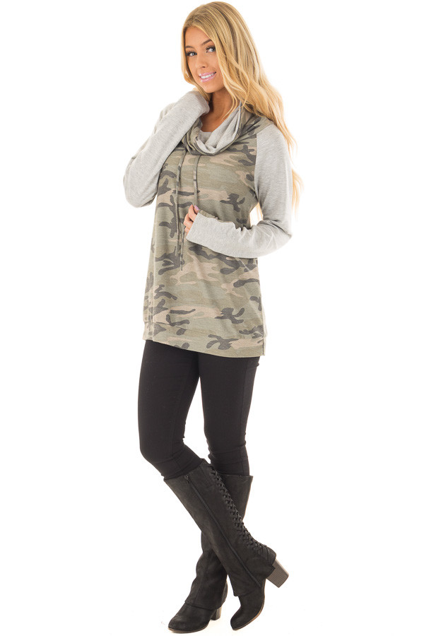 Heather Grey and Olive Camo Cowl Neck Sweater front full body