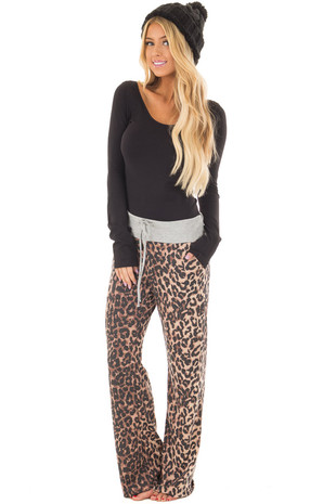 Mocha Leopard Print French Terry Pants with Grey Contrast front full body
